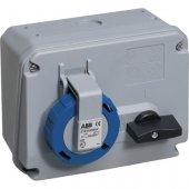 Розетка кабельная синяя 16А 2Р+Е IР67 с выключателем 250В CEWE; 2CMA167801R1000 (216 MHS6W)