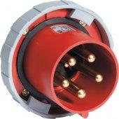 Вилка панельная красная прямая 63A 3P+E IP67 (363 BU6W); 2CMA168109R1000