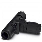 1411415; QUICKON Т-разветвитель, черный, кол-во контактов 4+PE, 2.5 мм² ... 6.0 мм² QPDT 4PE6.0 3X12-20 BK