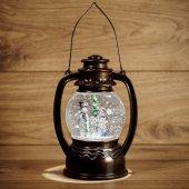 """501-061; Декоративный фонарь с эффектом снегопада и подсветкой """"Снеговики"""", белый"""