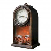 511-021; Светодиодный камин «Старинные часы» с эффектом живого огня 14.7x11.7x25 см, бронза, батарейки 2хС (не в комплекте) USB