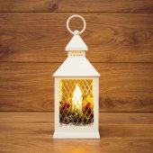 513-042; Декоративный фонарь со свечкой, белый корпус, размер 10.5х10.5х24 см, цвет теплый белый