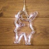 """501-018; Фигура светодиодная """"Санта Клаус"""" на присоске с подвесом, цвет белый"""