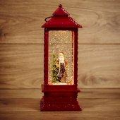 """501-062; Декоративный фонарь с эффектом снегопада и подсветкой """"Дед Мороз"""", теплый белый"""