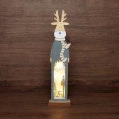 504-007; Деревянная фигурка с подсветкой «Рождественский олень» 11х5х47 см