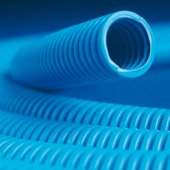 11940 Труба гибкая гофрированная номинальный ф40мм полипропиленлегкая, не распространяет горение, с протяжкой, цвет синий (цена за метр)