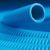 11525 Труба гибкая гофрированная номинальный ф25мм полипропилентяжелая, не распространяет горение, с протяжкой, цвет синий (цена за метр)