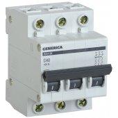 MVA25-3-040-C; Автоматический выключатель GENERICA ВА47-29 3P 40А 4.5кА (С)