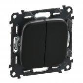 Valena Allure Выключатель двухклавишный 10А 250В с лицевой панелью безвинтовые зажимы антрацит; 752915
