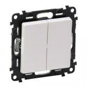 Выключатель Valena Life двухклавишный 10А 250В с лицевой панелью безвинтовые зажимы белый; 752405