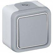 Кнопочный выключатель Н.О. контакт Plexo серый 10 A;069720