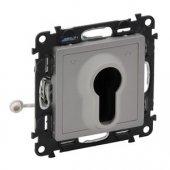 752319; Переключатель Valena Life кнопочный с ключом 3 положения с самовозвратом 10А 230В с лицевой панелью алюминий